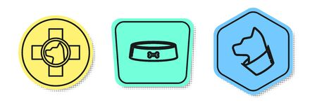 Set line Veterinary clinic symbol, Pet food bowl and Cat. Colored shapes. Vector