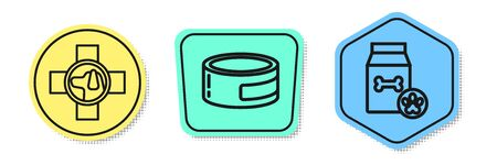Set line Veterinary clinic symbol, Canned food and Bag of food for pet. Colored shapes. Vector Иллюстрация