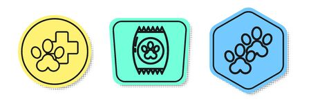 Set line Veterinary clinic symbol, Bag of food for pet and Paw print. Colored shapes. Vector