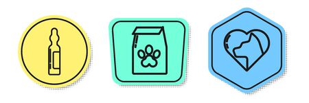 Set line Pets vial medical, Bag of food for pet and Heart with cat. Colored shapes. Vector Иллюстрация