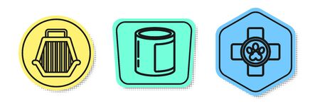 Set line Pet carry case, Canned food and Veterinary clinic symbol. Colored shapes. Vector
