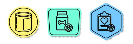 Set line Canned food, Bag of food for pet and Clipboard with medical clinical record pet. Colored shapes. Vector