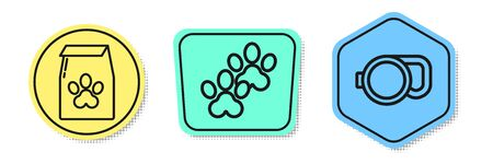 Set line Bag of food for pet, Paw print and Retractable cord leash. Colored shapes. Vector Ilustração