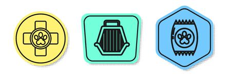 Set line Veterinary clinic symbol, Pet carry case and Bag of food for pet. Colored shapes. Vector Иллюстрация
