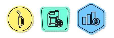 Set line Gasoline pump nozzle, Antifreeze canister and Pie chart infographic and dollar. Colored shapes. Vector
