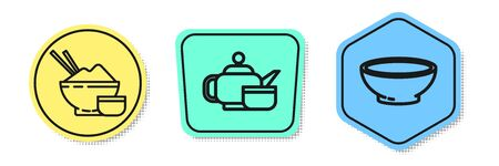 Set line Rice in a bowl with chopstick, Japanese tea ceremony and Bowl of hot soup. Colored shapes. Vector