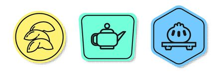Set line Chinese fortune cookie, Japanese tea ceremony and Dumpling on cutting board. Colored shapes. Vector