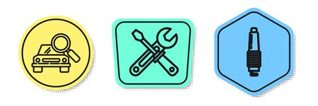 Set line Car search, Screwdriver and wrench tools and Car spark plug. Colored shapes. Vector Illustration