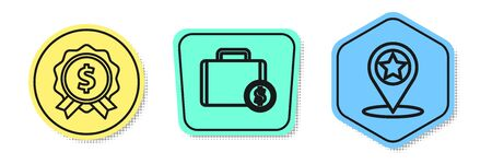Set line Price tag with dollar, Briefcase and money and Map pointer with star. Colored shapes. Vector