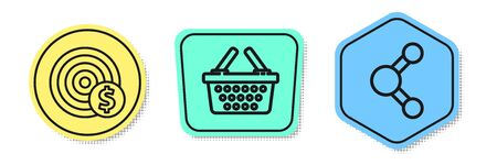 Set line Target with dollar symbol, Shopping basket and Share. Colored shapes. Vector Ilustracja