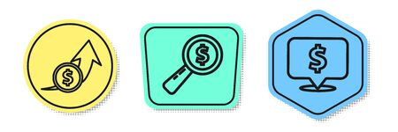 Set line Financial growth and coin, Magnifying glass and dollar and Speech bubble with dollar. Colored shapes. Vector Ilustracja