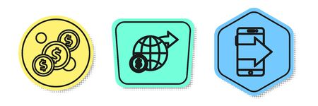 Set line Coin money with dollar, Earth globe with dollar and Smartphone, mobile phone. Colored shapes. Vector Ilustracja