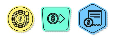 Set line Target with dollar symbol, Coin money with dollar symbol and Paper check and financial check. Colored shapes. Vector Ilustracja
