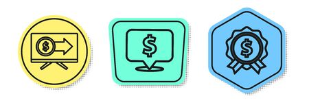 Set line Monitor with dollar, Speech bubble with dollar and Price tag with dollar. Colored shapes. Vector