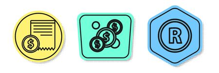 Set line Paper check and financial check, Coin money with dollar and Registered Trademark. Colored shapes. Vector Ilustracja