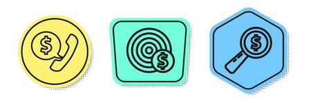 Set line Telephone handset and speech bubble chat, Target with dollar symbol and Magnifying glass and dollar. Colored shapes. Vector