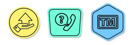 Set line Money on hand, Telephone handset and speech bubble chat and Trademark. Colored shapes. Vector