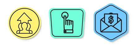 Set line Growth chart and progress in people crowd, Hand touch and tap gesture and Envelope with coin dollar. Colored shapes. Vector Ilustracja