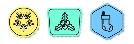Set line Christmas star, Branch viburnum or guelder rose and Christmas stocking. Colored shapes. Vector