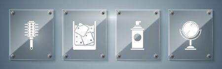 Set Hand mirror, Shaving gel foam, Glass of whiskey and ice cubes and Hairbrush. Square glass panels. Vector