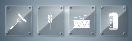 Set Beer can, Musical instrument drum and drum sticks, Cereals set with rice, wheat, corn, oats, rye, barley and Sausage on the fork. Square glass panels. Vector