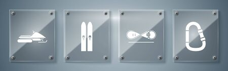 Set Carabiner, Skateboard trick, Ski and sticks and Snowmobile. Square glass panels. Vector