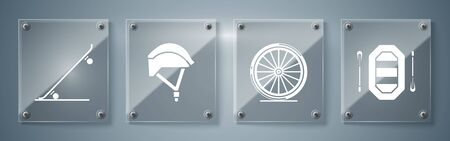 Set Rafting boat, Bicycle wheel, Bicycle helmet and Skateboard. Square glass panels. Vector