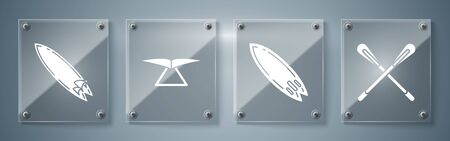 Set Crossed paddle, Surfboard, Hang glider and Surfboard. Square glass panels. Vector