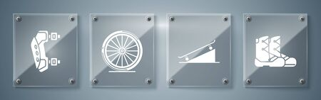 Set Boots, Skateboard on street ramp, Bicycle wheel and Knee pads. Square glass panels. Vector Foto de archivo - 139661936