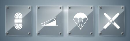 Set Ski and sticks, Parachute, Skateboard on street ramp and Climber rope. Square glass panels. Vector