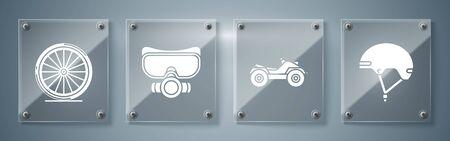 Establecer Casco, Vehículo Todo Terreno o Motocicleta ATV, Máscara de Buceo y Rueda de Bicicleta. Paneles de vidrio cuadrados. Vector