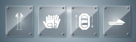 Set Jet ski, Rafting boat, Gloves and Ski poles. Square glass panels. Vector