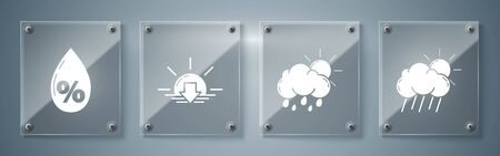 Set Cloud with rain and sun, Cloud with rain and sun, Sunset and Water drop percentage. Square glass panels. Vector