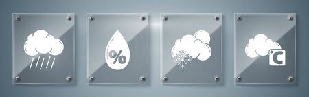Set Celsius and cloud, Cloud with snow and sun, Water drop percentage and Cloud with rain. Square glass panels. Vector 向量圖像