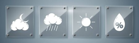 Set Water drop percentage, Sun, Cloud with rain and Cloud with moon and stars. Square glass panels. Vector