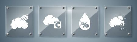 Set Windy weather, Water drop percentage, Celsius and cloud and Rainbow with clouds. Square glass panels. Vector