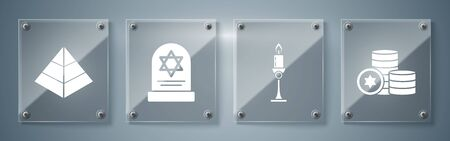 Set Jewish coin, Burning candle in candlestick, Tombstone with star of david and Egypt pyramids. Square glass panels. Vector