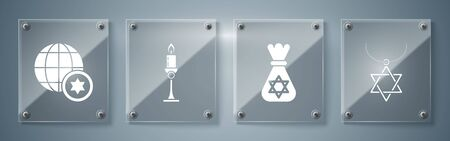 Set Star of David necklace on chain, Jewish money bag with star of david, Burning candle in candlestick and World Globe and Israel. Square glass panels. Vector Ilustração