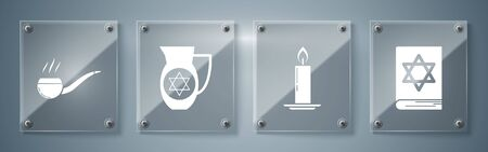 Set Jewish torah book, Burning candle in candlestick, Decanter with star of david and Smoking pipe with smoke. Square glass panels. Vector