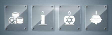 Set Hanukkah dreidel, Burning candle in candlestick with star of david, Burning candle in candlestick and Jewish coin. Square glass panels. Vector Stock Illustratie