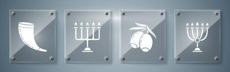 Set Hanukkah menorah, Olives branch, Hanukkah menorah and Traditional ram horn, shofar. Square glass panels. Vector