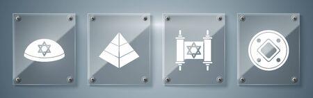 Set Jewish coin, Torah scroll, Egypt pyramids and Jewish kippah with star of david. Square glass panels. Vector