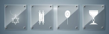 Set Jewish goblet, Balloons with ribbon with star of david, Torah scroll and Star of David necklace on chain. Square glass panels. Vector Vektorové ilustrace