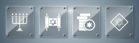 Set Star of David, Jewish coin, Torah scroll and Hanukkah menorah. Square glass panels. Vector