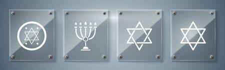 Set Star of David, Star of David, Hanukkah menorah and Jewish coin. Square glass panels. Vector