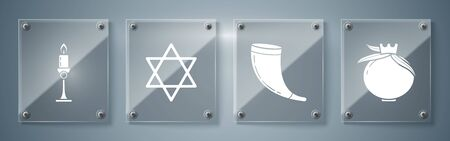 Set Pomegranate, Traditional ram horn, shofar, Star of David and Burning candle in candlestick. Square glass panels. Vector