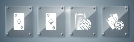 Set Playing cards and glass of whiskey with ice cubes, Casino chips, Playing card with spades symbol and Playing card with diamonds symbol. Square glass panels. Vector