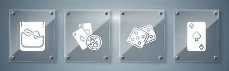 Set Playing card with spades symbol, Game dice, Playing cards and glass of whiskey with ice cubes and Glass of whiskey and ice cubes. Square glass panels. Vector