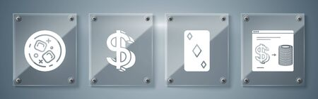 Set Online casino chips exchange on stacks of dollars, Playing card with diamonds symbol, Dollar symbol and Glass of whiskey and ice cubes. Square glass panels. Vector