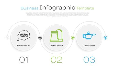 Set line CO2 emissions in cloud, Oil and gas industrial factory building and Canister for motor machine oil. Business infographic template. Vector Vectores